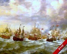 4 DAY NAVAL BATTLE AT SEA PAINTING 2ND ANGLO DUTCH WAR ART REAL CANVASPRINT