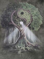MOUNTAIN-YIN YANG TREE GRAPHIC-MICHEAL MCGLOIN -MED TIE DYE GREEN T-SHIRT- D386