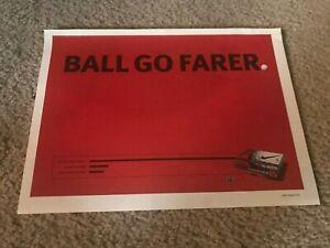 "Vintage 2002 NIKE POWER DISTANCE GOLF BALLS Poster Print Ad ""BALL GO FARER"""