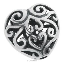 1x Bali 925 Sterling Silver Filigree Flower Leaf Puff Heart Love Spacer Bead