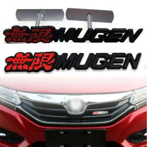 Metal MUGEN Trunk Badge Decal+Front Grille Emblem for Honda TypeR Civic Integra