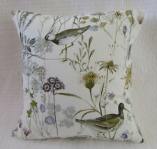 "16"" Cushion Cover Bird Print Green Brown Grey Wetland Wild Flower Handmade 40cm"