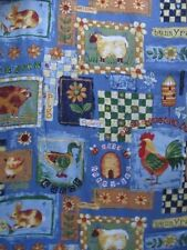 "3 Yds 14"" Country Barnyard Animal Fabric Concord Rooster Lamb Chicks Sunflower"