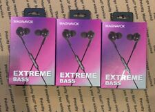 3 Pack Magnavox Extreme Bass Earphones Black NEW
