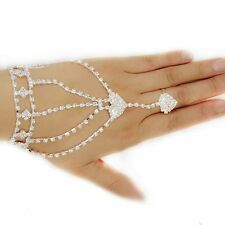 With Finger Ring Bangle Hand Chain Double Peach Heart Bracelet Bracelet