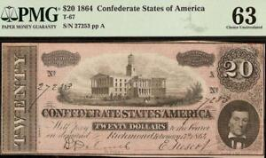 UNC 1864 $20 DOLLAR CONFEDERATE STATES CURRENCY CIVIL WAR NOTE MONEY T-67 PMG 63