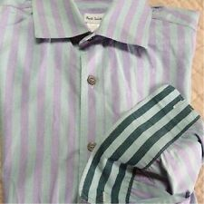 "PAUL SMITH lilac & blue/green STRIPED DRESS SHIRT 15"" ITALY Spring Pastel 38 cm"