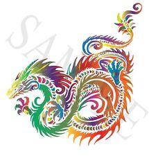 Rainbow Tribal Dragon Iron On Transfer A5 Size