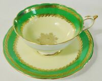 Beautiful RARE Paragon GREEN Yellow GOLD Gilt Cabinet Tea Cup & Saucer Set