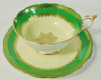 Beautiful RARE Paragon GREEN Yellow GOLD Gilt Cabinet Tea Cup & Saucer Set