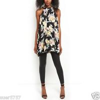 Ex New Look Black Floral Sleeveless Rose Cameo Summer Party Tunic Top Size 8 -16