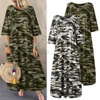 ZANZEA Women Summer Short Sleeve Casual Loose Camouflage Print Maxi Shirt Dress