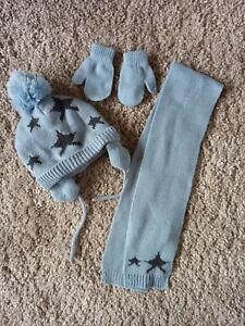 Baby Boy Bobble Hat, Scarf & Mittens Set