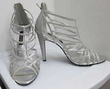"""Nina - size 9.5 - Silver glitter strappy heels with back zipper and 41/4"""" heel"""