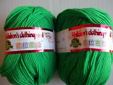 6-ply silky baby yarn (Children's Clothing Wool), bright green, lot of 2