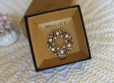 """Monet Goldtone 2"""" Circle Pin/Brooch Pearls Crystals Vintage Boxed~ >^..^< Rescue"""