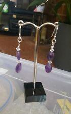 925 Sterling Silver Amethyst and Swarovski Crystal Bicone earrings