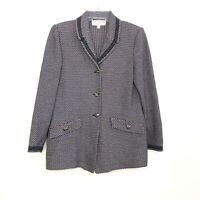ST.John Collection by Marie Gray Women's Purple Black Blazer Jacket size 4 HK