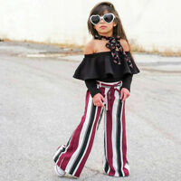 Children Kids Baby Girls Off Shoulder Ruffles Tops Striped Long Pants Outfit Set