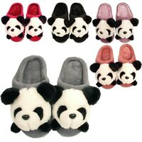 Ladies Slippers Womens Girls Novelty Panda Bedroom House Winter Warm Fur Booties