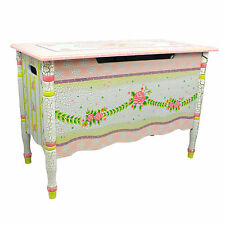 Childrens Crackled Rose themed Kids Wooden Toy Chest Toy Box with Safety Hinges