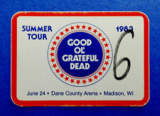 Grateful Dead Backstage Pass Madison Wisconsin WI Dane County Arena 6/24/1983