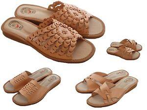 Womens Ladies Natural Leather Slipper Mules Flip-flop Sandals Beach