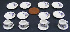 1:12 Scale 16 Piece Hand Painted Mauve Floral Ceramic Tea Set Dolls House TS2