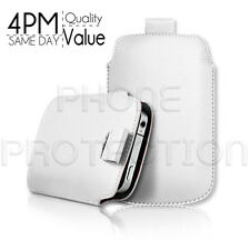 Premium PU Leather Pull Tab Pouch Case Cover For Various HTC Phones