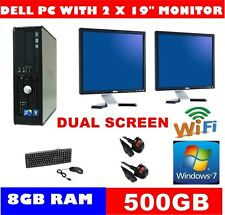 "DELL QUAD CORE COMPUTER PC 500GB WINDOWS 10 OR 7  WIFI 2 X 19"" TFT DUAL SCREEN"