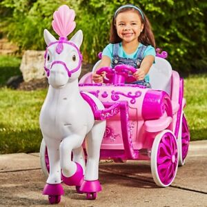 Disney Princess Royal Horse and Carriage Girls 6V Ride-On Toy For Girls By Huffy