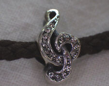 STERLING SILVER TREBLE CLEF CLEAR CZ MUSICAL NOTE EUROPEAN Bead Charm