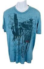 Levi's Size Large Mens Shirt T-Shirt Short Sleeve Crewneck Green Blue Distressed