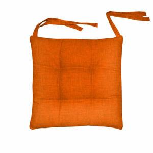 Funda para Silla 6 Cojines Cordones Color Liso Mezcla Naranja Algodón Sarani