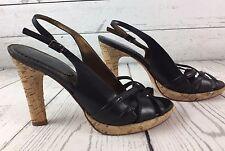 Aldo Black Cork Platform Heels Slingback Sandals Shoes  Size EU 37 USA 6 or 6.5