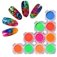 Neon Pulver Glitzern Fluorescent Colors Pigment Dust Nagel Dekorationen Designs