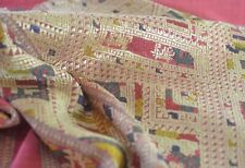 S. ASIAN HANDWOVEN & EMBROIDERED SILK WRAP RUNNER TEXTILE UU470