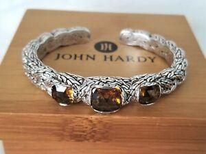 JOHN HARDY - RARE - Cognac Quartz Braided Kick Cuff Bracelet - Brand New! $1595
