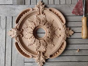 Ceiling Medallion Baroque Vintage Wood Carved Rosette Architecture Mold Ornament