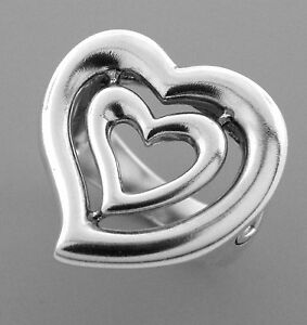 AUTHENTIC KIESELSTEIN CORD LARGE LADIES DOUBLE HEART RING SIZE 9
