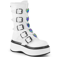 "DEMONIA Womens 2"" Platform Punk Goth White Faux Leather Buckle Strap Calf Boots"