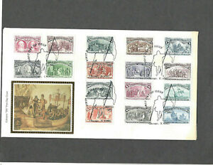 1992 COMPLETE SET 16 COLUMBIAN STAMPS FDC MAY 22-1992 COLORANO SILK CACHET