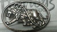 Georg Jensen Style Danish Sterling Silver Wild Large Cat Lioness Brooch Pin
