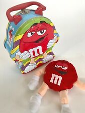 """M&M Tin Metal Lunch Box RED Embossed 2003 7""""x6"""" Hinged Handle Plush Toy Included"""