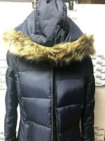 Women's KENNETH COLE  Long Down Puffer Jacket parka Removable Faux Fur Hood