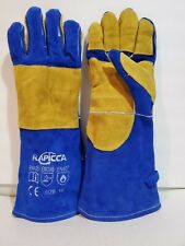 16 inches Rapicca Leather Forge Welding Gloves Heat/Fire Resistant, Mitts (Blue)