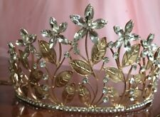 Womens Floral Rose Gold Tiara With Hairpin