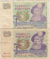 Sweden 5 Kronor 1965 & 1978 Prefix A Series CS Circulated Banknote
