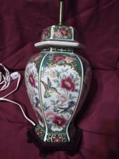 Vintage Asian Lamp Urn Vase Hummingbird Bird Flowers Floral Porcelain Wood Base