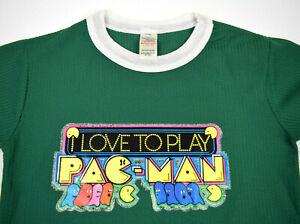VTG Pac-Man Arcade Game Graphic T-Shirt Unisex XS/S 80s Iron on Love Pac-Man